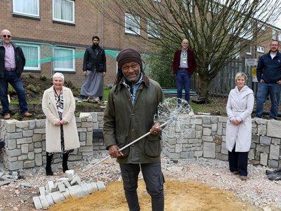 TV Presenter Danny Clarke 'Over The Moon' with progress of Commemorative Hospital Garden.